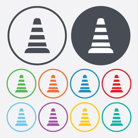 obstruction: vector illustration of modern b lack icon traffic cone