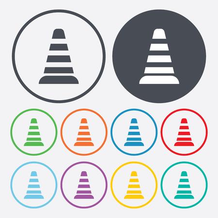 obstruction: vector illustration of modern b lack icon traffic cone