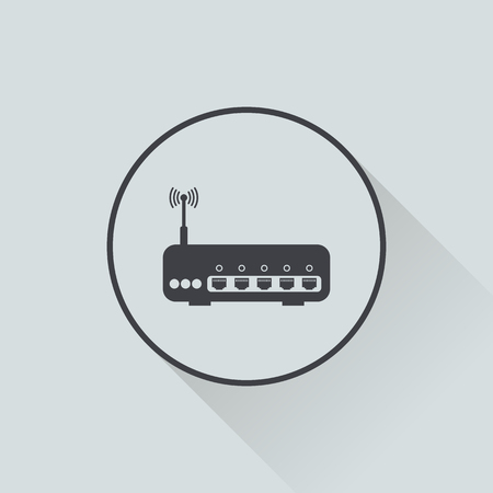 dsl: vector illustration of modern b lack icon router