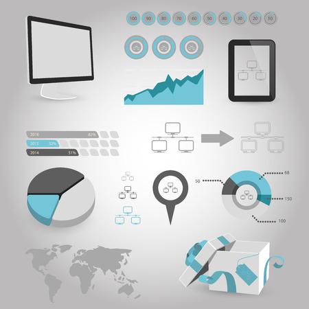 global settings: vector illustration of modern b lack icon network