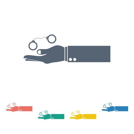 custody: vector illustration of modern b lack icon police handcuffs