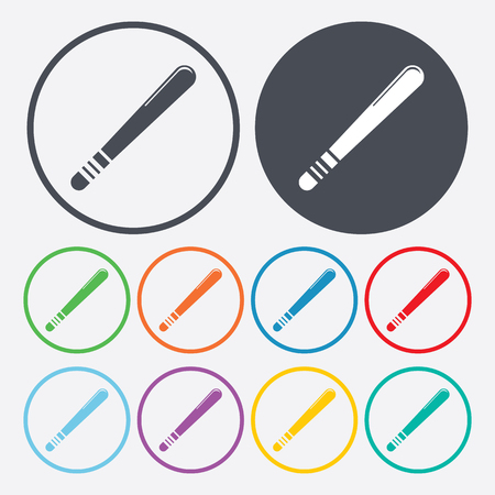 truncheon: vector illustration of modern b lack icon baton protection