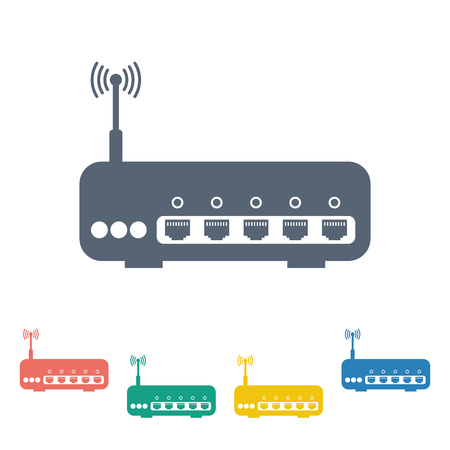 hub computer: vector illustration of modern b lack icon router