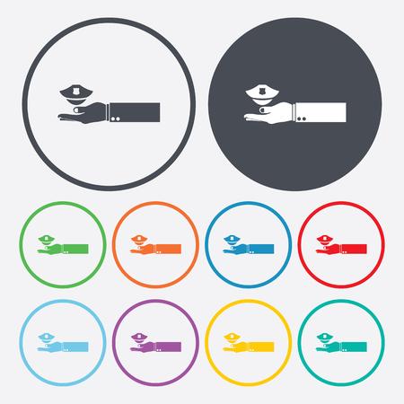 gorra polic�a: vector illustration of modern b lack icon police cap
