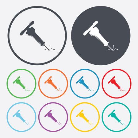 jack hammer: illustration of vector building modern icon in design Illustration