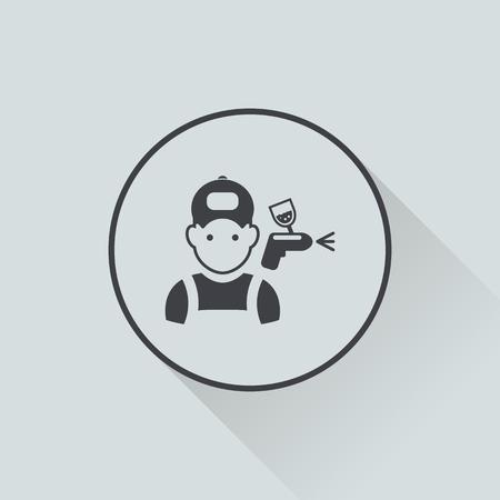 aerografo: Ilustraci�n vectorial de la moderna icono de reparaci�n de autom�viles Vectores