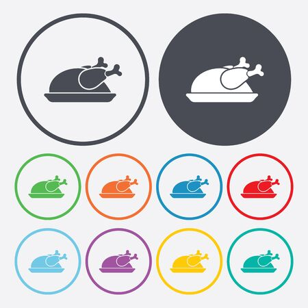fat bird: Vector illustration of food icon