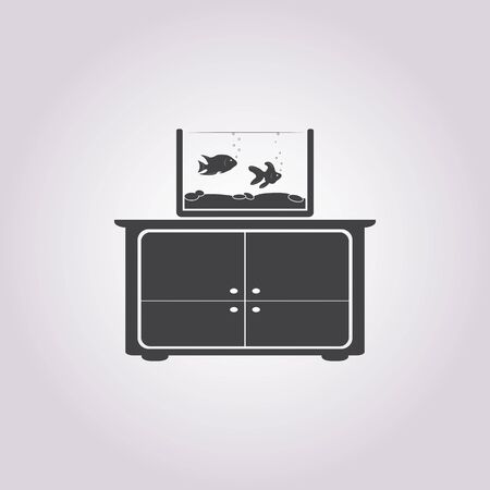 commode: Illustration of vector commode with aquarium icon