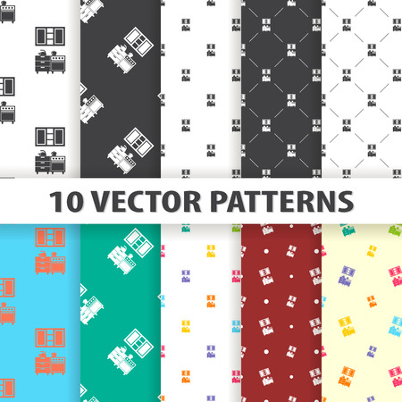 cupboards: Illustration of vector kitchen icon pattern Illustration
