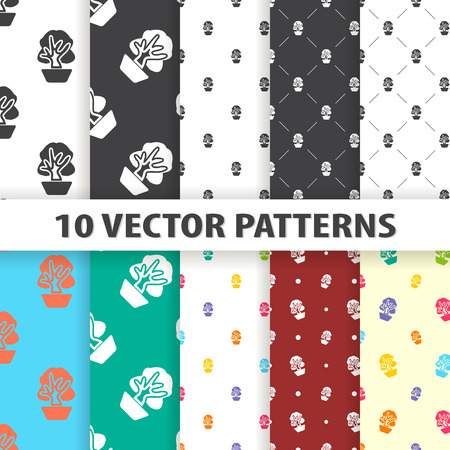 flowerpots: Illustration of vector flower icon pattern Illustration