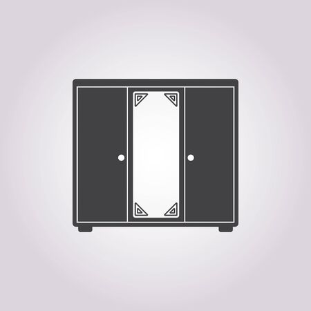filing cabinet: Illustration of vector cupboard icon