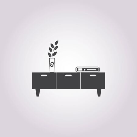 commode: Illustration of vector commode with vase icon Illustration