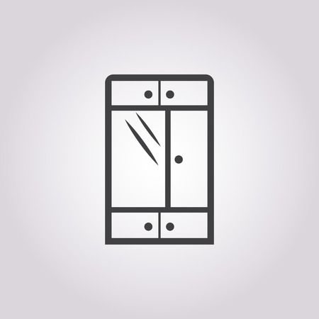 closet door: Illustration of vector cupboard icon