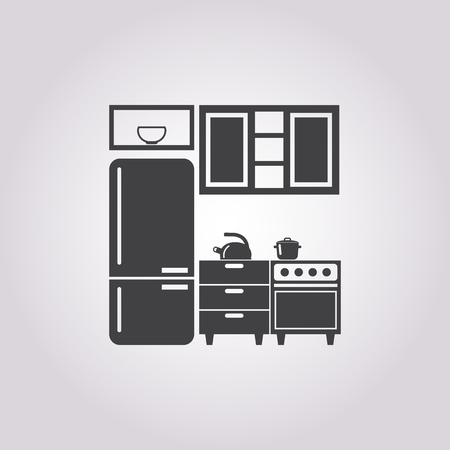 Illustration of vector kitchen icon Çizim