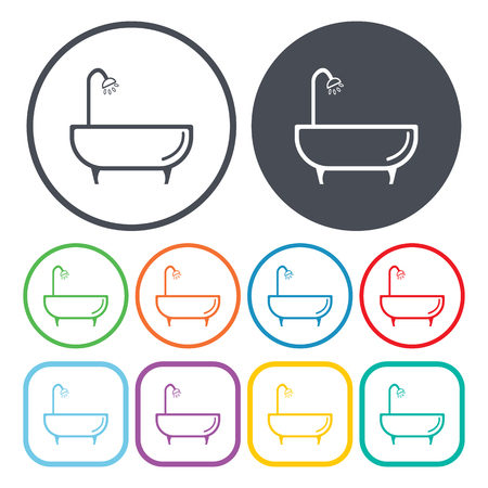 showering: Illustration of vector washroom icon