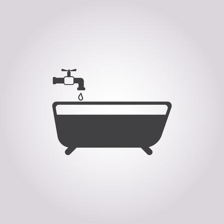 showering: Illustration of vector washroom icon