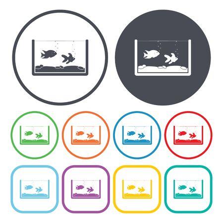 fishbowl: Illustration of vector aquarium icon