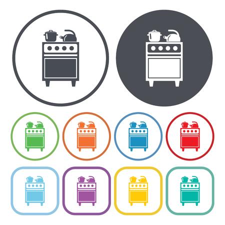 furnace: Illustration of vector oven icon Illustration