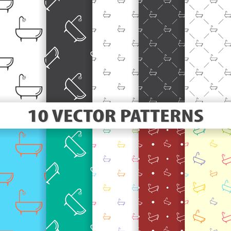 showering: Illustration of vector washroom icon pattern