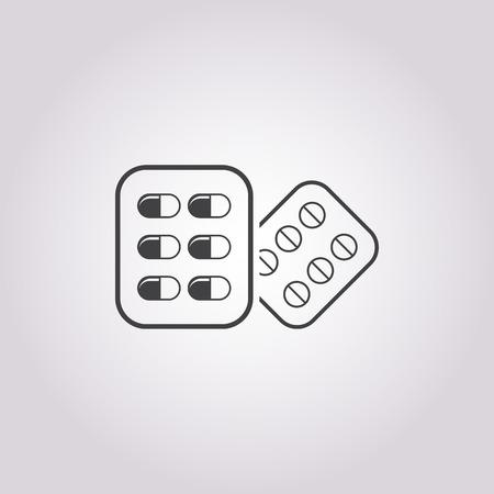 a tablet blister: Vector illustartion of pill icon