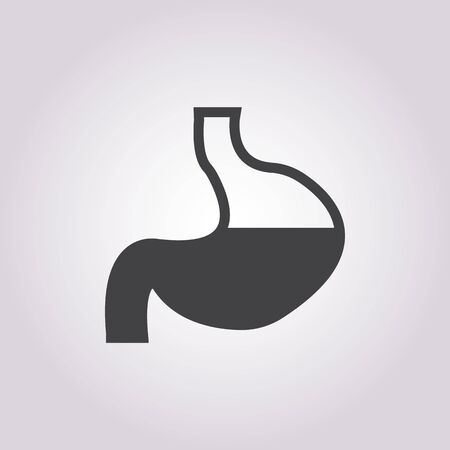 emaciated: vector illustration of stomach icon Illustration