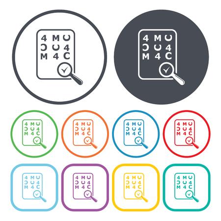 sight chart: Eye Chart Test Vector Illustration of icon. Illustration