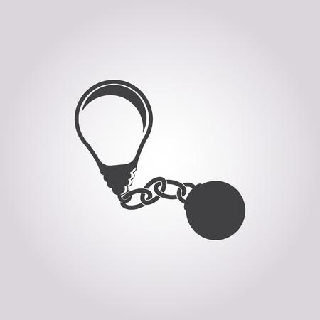 ball chains: vector illustration of bad idea icon