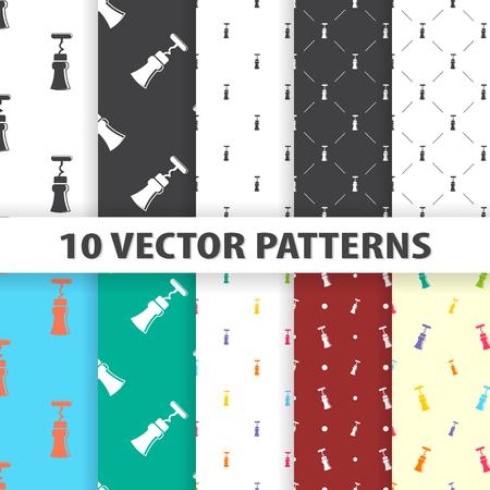 uncork: vector illustration of corkscrew icon pattern