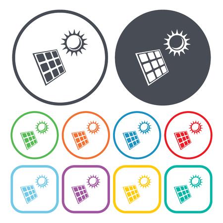 radiacion solar: Ilustración del vector del icono de la batería solar