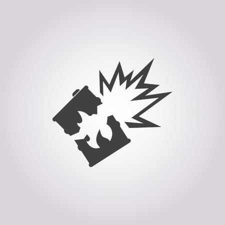 barrel bomb: Vector illustration of explosion icon Illustration