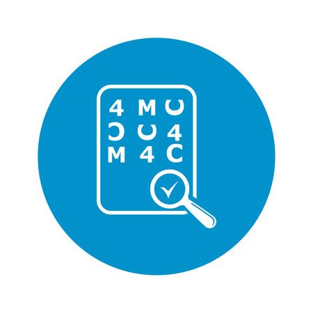 optician: Eye Chart Test Vector Illustration of icon. Illustration