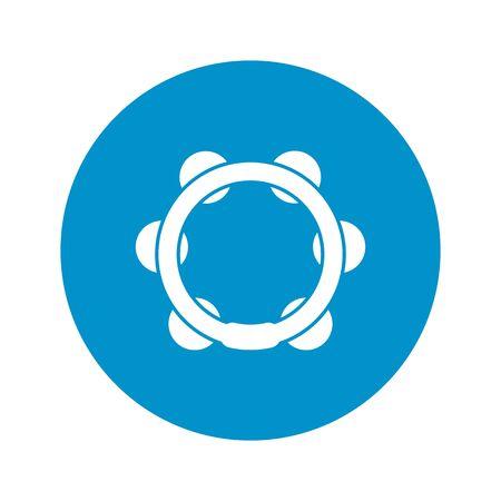 pandero: ilustración vectorial de icono de pandereta