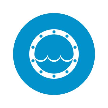 ocean view: Vector illustration of window icon