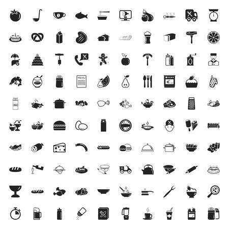 alimentari 100 set di icone per il web piatta