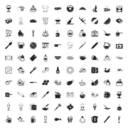 garlic bread: kitchen 100 icons set for web flat Illustration