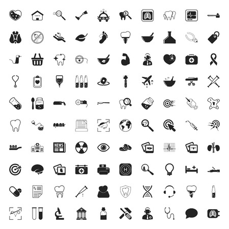medicine 100 icons set for web flat