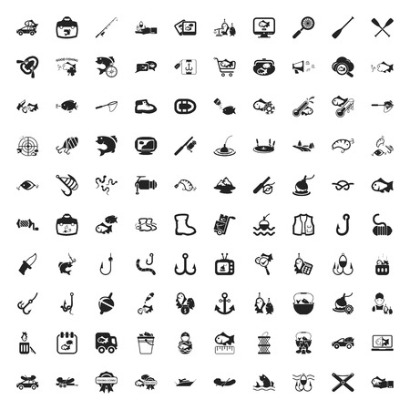 fishing 100 icons set for web flat