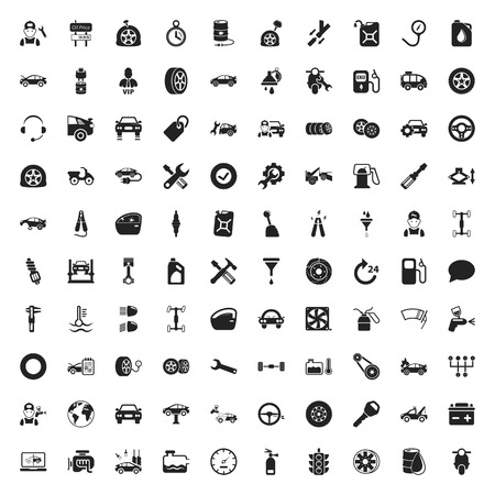 car repair 100  icons set for web Illustration