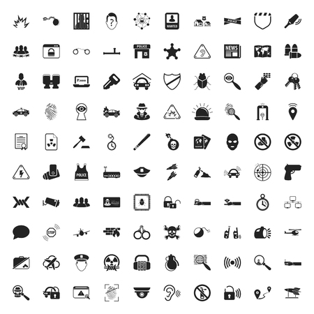 broken glass window: security 100 icons set for web flat