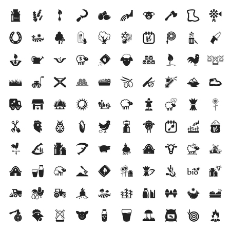 seed bed: gardening 100 icons set for web flat