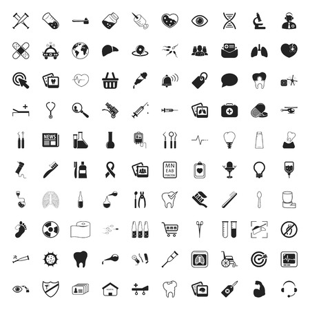 human icons: health care 100 icons set for web flat
