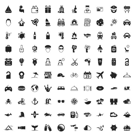 icons: travel 100 icons set for web flat