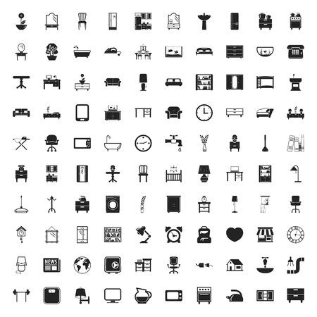 fridge lamp: furniture 100 icons set for web flat