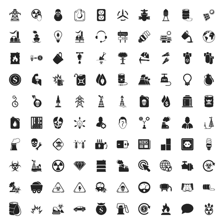barrel bomb: industry 100 icons set for web flat