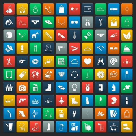 fashion shoes: fashion 100 icons  universal set for web and mobile flat Illustration