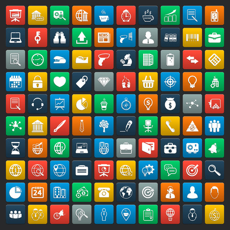 set: business 100 icons universal set for web and mobile