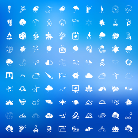 humidity: weather 100 icons set for web flat
