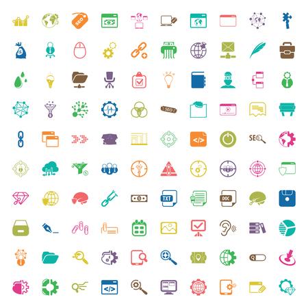 seo 100 icons set for web flat