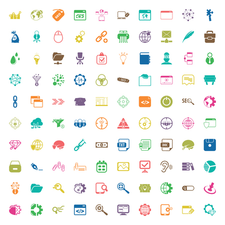 web icons: seo 100 icons set for web flat