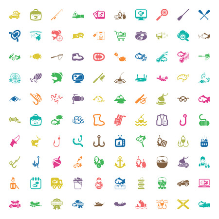 icon collection: fishing 100 icons set for web flat